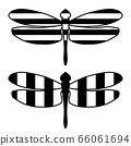 Black and white dragonfly icon. Striped isolated element with an outline on a white background. Vector illustration. Creative modern concept for designs banners, cards, logo, printed, packing, covers. 66061694