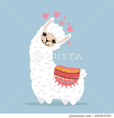 Cute lama alpaca cartoon vector 66064394