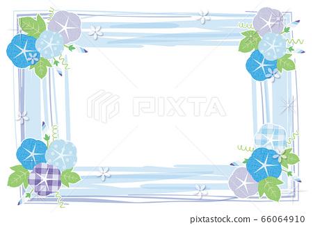牽牛花花藍色框架明信片背景素材 66064910