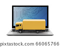 Yellow cargo delivery truck on laptop isolated on white background 66065766
