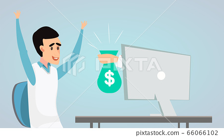 Online Profit. Hand From Monitor Stretching Bag With Money To Happy Man 66066102