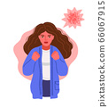 Angry aggressive irritated woman with wild hair and red face, clenches his hands into fists. 66067915
