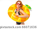 Cheerful woman with fair red hair in swimsuit, picture isolated on white background 66071636