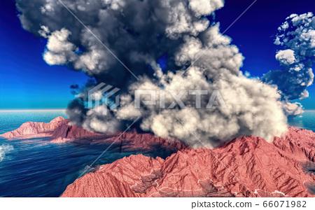 Volcanic eruption on island 3d rendering 66071982