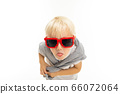 Little beautiful boy with blonde hair smiles, picture isolated on white background 66072064