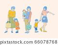母親與幼童,外出購物遊玩,向量插畫 66078768