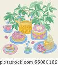 下午茶蛋糕與茶的美食向量插圖 66080189