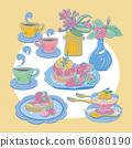 下午茶時間,絡點,鱈魚,莓莓鱈,咖啡茶日本桌花,蜖量插圖 66080190