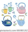 可愛的茶壺,日本茶杯和扁平茶杯 66080192