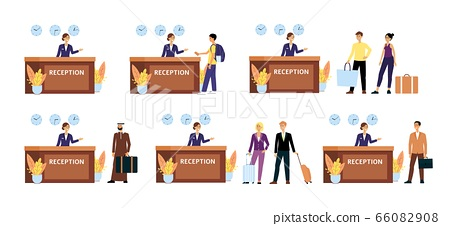 Set of tourists at hotel reception desk, different cartoon characters check in with friendly female receptionist 66082908