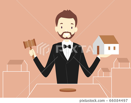 Man Estate Auctioneer Job Illustration 66084497