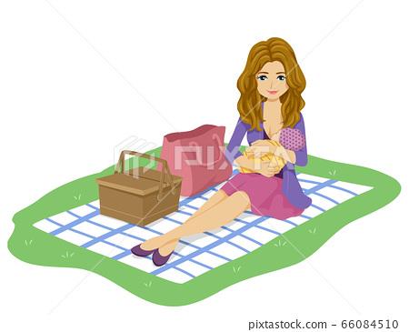Girl Mom Park Public Breastfeed Illustration 66084510