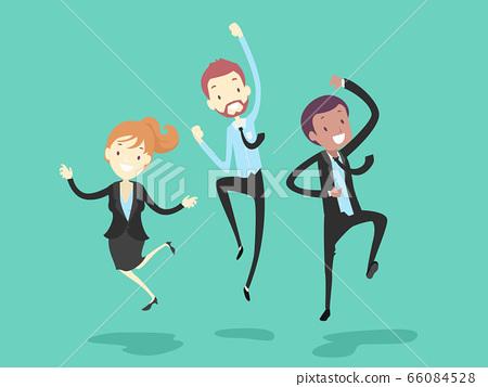 People Work Happy Jump Illustration 66084528