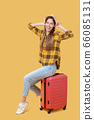 Beautiful long-haired girl in a hat sitting on a suitcase. 66085131