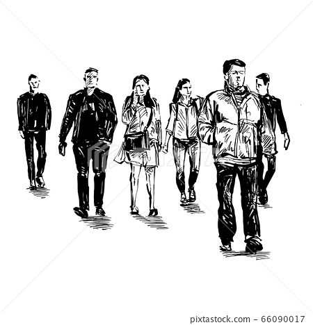 Drawing of people are walking at public space  66090017