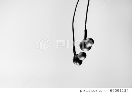 White headphones with on the white background 66091134