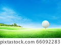 White golf ball on tee and green grass meadow field with blue sky and trees in background. 66092283