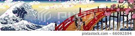 神奈川縣沿海及旁觀者和櫻花長版 66092894