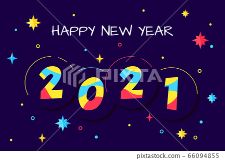 Happy New Year 2020 - vector greeting card 66094855