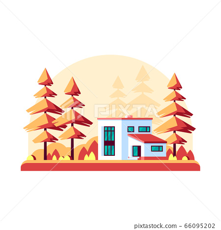 Autumn landscape with modern villa 66095202