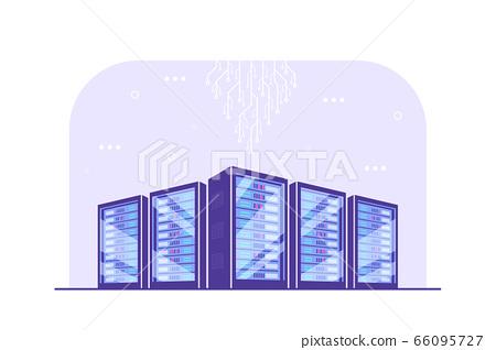Data storage concept banner, flat style vector illustration 66095727