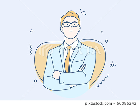 Businessman smiling and confident. Concept of leadership. Hand drawn in thin line style, vector illustrations. 66096242