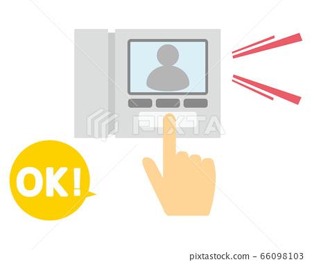 用手指按對講機的插圖 66098103