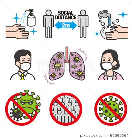코로나 바이러스 감염 방지 일러스트 소재 세트 66099564