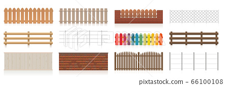Fences set. Different fences like wooden, garden, electric, picket, pasture, wire fence, wall, barbwire and other railings. Isolated vector illustration on white background. 66100108