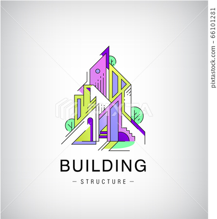 Vector colorful buildings, urban skyline logo, flat style with lines construction. Illustration, design template modern building in abstract way. Logo, structure 66101281