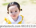 漂亮的女孩在公园玩耍 66101310