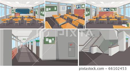 從學校的不同角度欣賞教室,走廊和樓梯的景色。學校內部背景例證。. 66102453