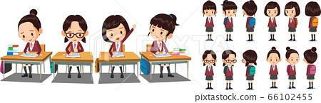 穿制服的女學生正在課桌旁學習。學生矢量字符周轉。 66102455