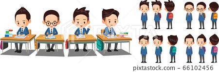 교복을 입은 남학생들이 학교 책상에서 공부하고 있다. 학생 벡터 캐릭터 턴어라운드.  66102456