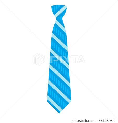 Blue striped tie icon, flat style 66105931