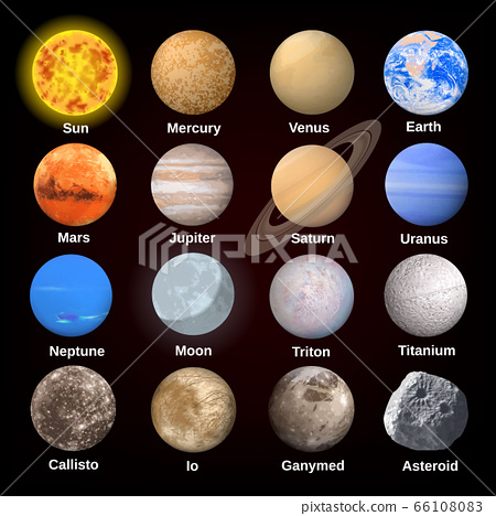 Planets icon set, realistic style 66108083