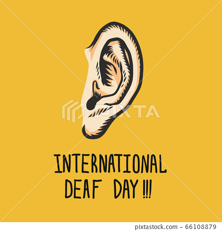 Yellow international deaf day concept background, hand drawn style 66108879
