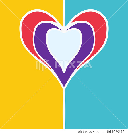 Colorful Hearts Frame For Valentines Day Flier. Hand Drawn Design Vector Cover Background. 66109242