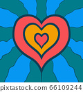 Colorful Hearts Frame For Valentines Day. Hand Drawn Design Vector Card Background. 66109244