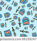 The seamless pattern consists of stylized shields and European-type swords. A good pattern for children's room wallpaper or wrapping paper 66109247