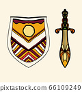 The stylized shield and sword are located side by side, presenting the idea of chivalry and the old European aristocracy. 66109249