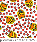 Heraldic symbols - coat of arms and red dots. The seamless pattern consists of stylized herldry elements. A good pattern for childrens room wallpaper or wrapping paper. The old aristocracy and 66109253