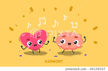 A brain is dancing together with heart. Isolated 66109587