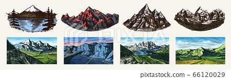 Mountain landscape backgrounds set. Alpine peaks. Vintage Mount. Travel concept. Hand drawn engraved 66120029
