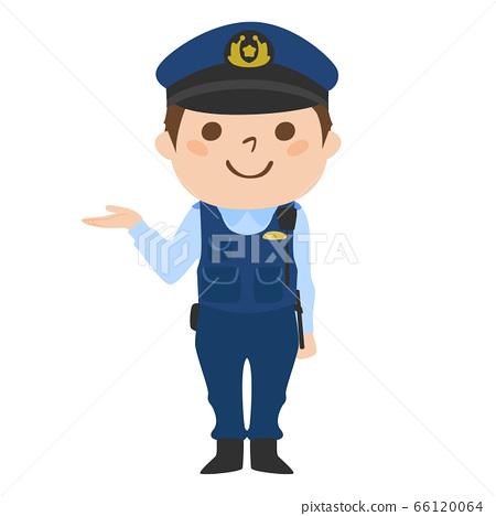 一男性警察指南的例證。. 66120064