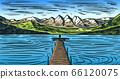Mountain landscape background. Alpine peaks. Vintage Mount. Travel concept. Sea with a wooden bridge 66120075