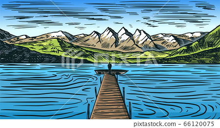 Mountain landscape background. Alpine peaks. Vintage Mount. Travel concept. Sea with a wooden bridge 66120075