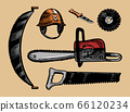 Tools for cutting trees. Saw or chainsaw and helmet. Home instruments. Hand drawn elements. Vector 66120234