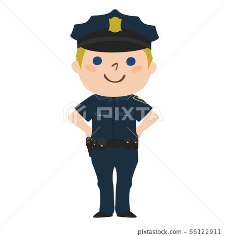 一位微笑的男性警察的例證。. 66122911