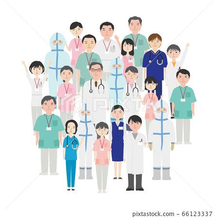하나가되어 협력하는 의료 종사자들 66123337